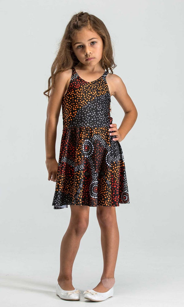 Aboriginal Art Kids Skater Dress Dreamtime