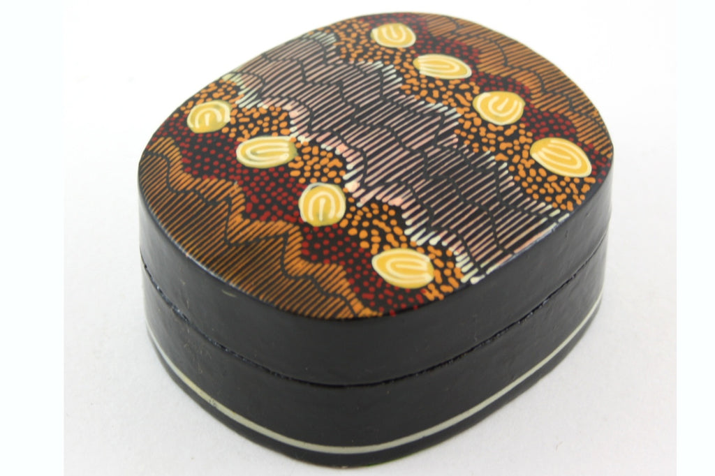 Aboriginal Art Small Lacquer Box by Damien & Yilpi Marks