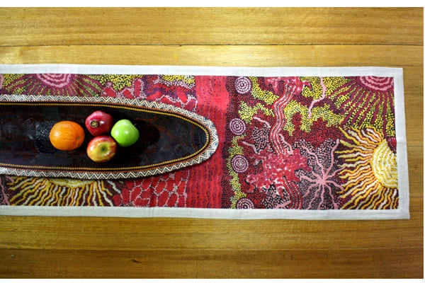 Aboriginal Art Linen Table Runner by Damien & Yilpi Marks