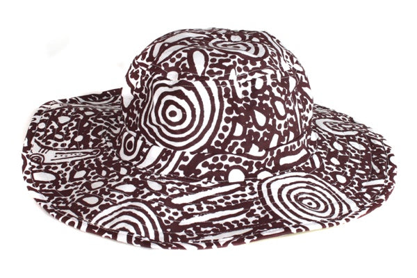 Aboriginal Art Cotton Bucket Hat by Stephen Pitjara Martin