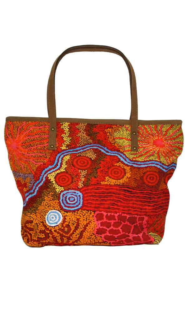 Aboriginal Art Tote Bag Leather Trimmed by Damien & Yilpi Marks