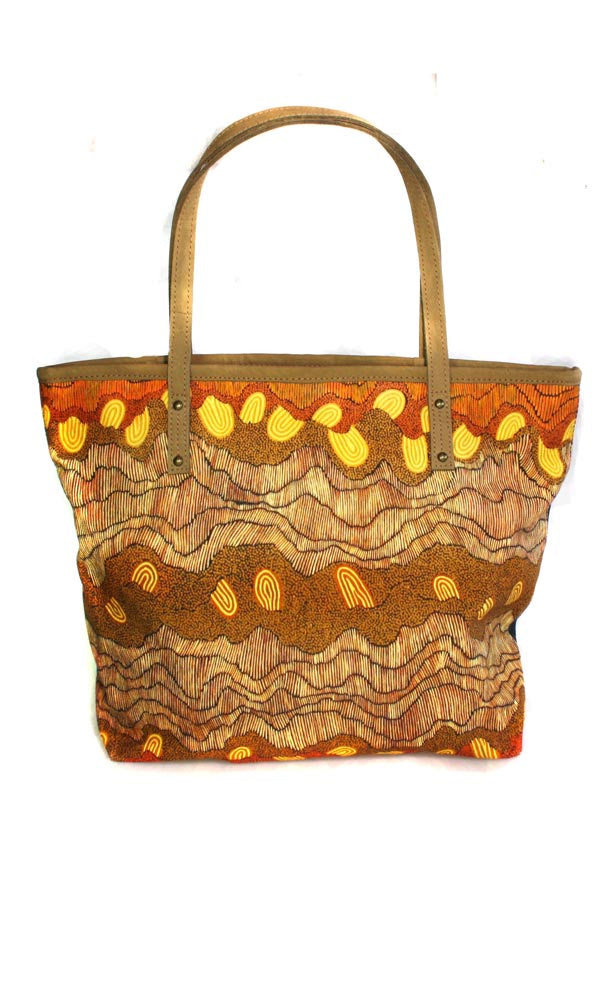 Aboriginal Art Tote Bag Leather Trimmed by Damien & Yilpi Marks (2)