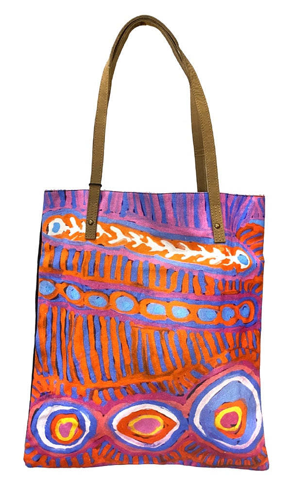 Aboriginal Art Shoulder Tote Bag Leather Trimmed by Murdie Nampijinpa Morris