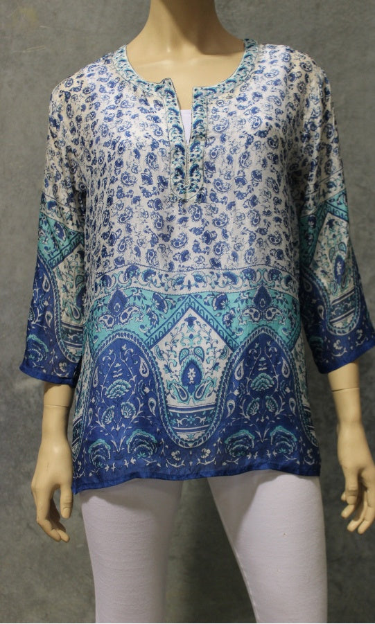 Silk Kurta Kaftan Short Small Flower Border Print
