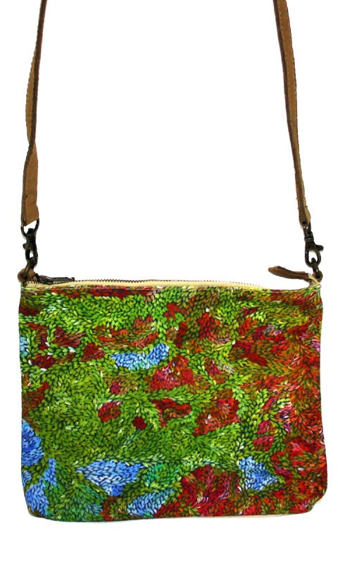 Aboriginal Art Cross Body Bag Leather Trimmed by Patricia Multa