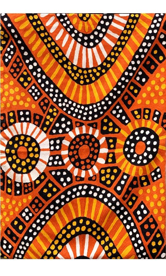Aboriginal Art Wool Rug by Nina Puruntatameri 3x5ft (91x152cm)