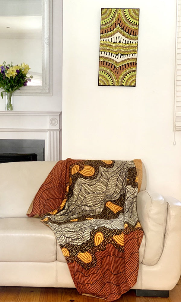 Aboriginal Art Cotton Throw by Damien and Yilpi Marks