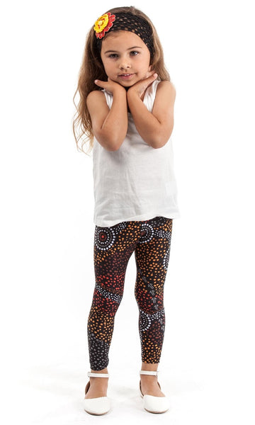 Aboriginal Art Kids Leggings Dreamtime, Sizes 6 - 12