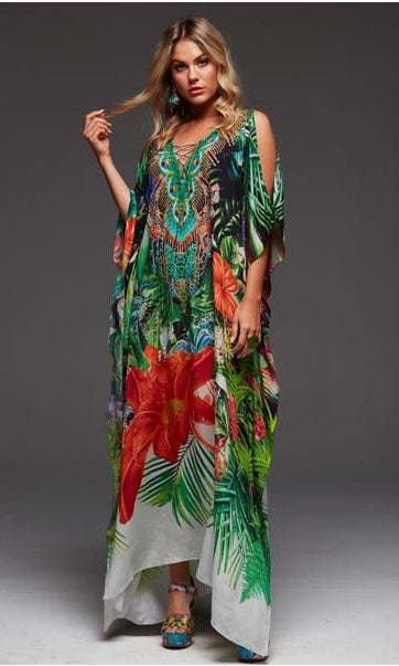Silk Kaftan Long with Split Escape to Paradise