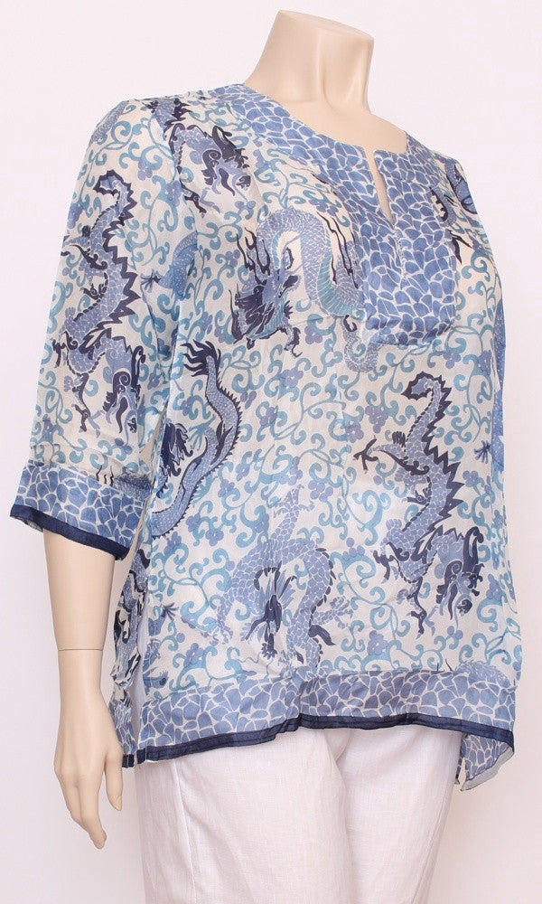 Silk Kurta Kaftan Short, Chinese Dragon, Sizes 8-16