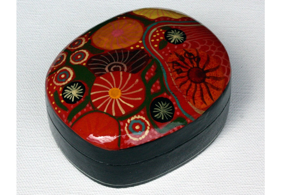 Aboriginal Art Medium Lacquer Box by Damien & Yilpi Marks