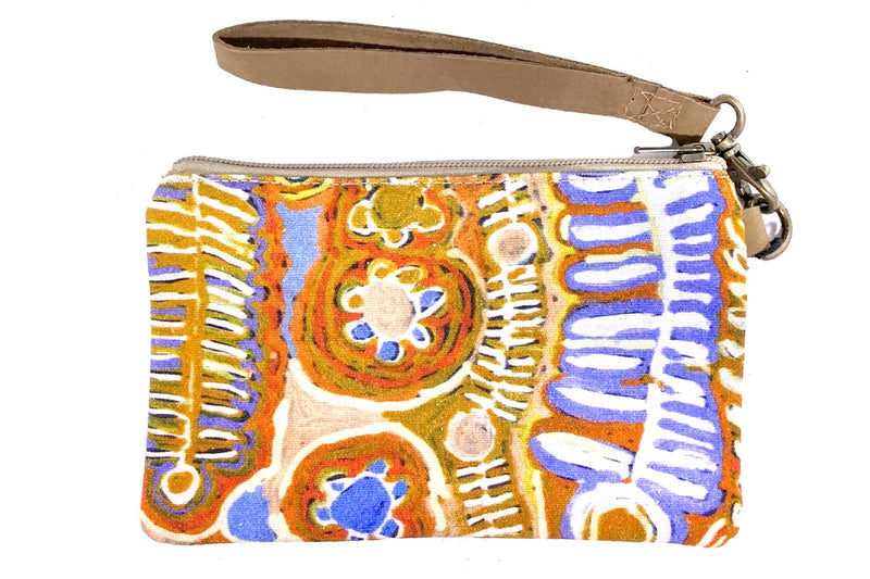 Canvas Pouch with Leather Strap by Murdie Nampijinpa Morris