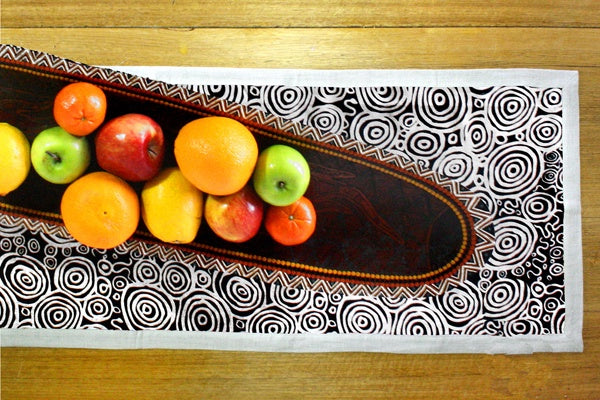 Aboriginal Art Linen Table Runner by Nelly Paterson