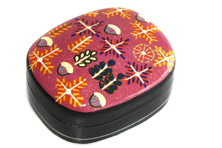 Aboriginal Art Medium Lacquer Box by Rosie Ross