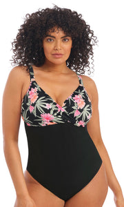 Dark Tropics Black Non Wired Moulded Swimsuit, Pre-Order Size XL - 6XL