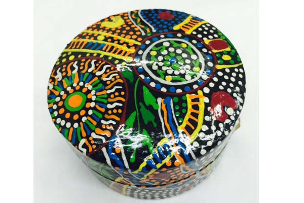 Aboriginal Art Lacquer Pill Box by Lee-Ann Hall
