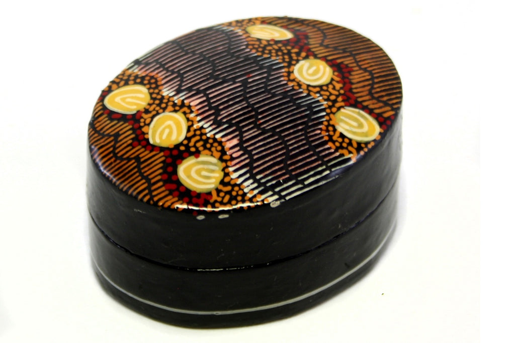 Aboriginal Art Small Lacquer Pill Box by Damien & Yilpi Marks