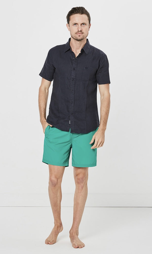 Linen Shirt Short Sleeve Navy