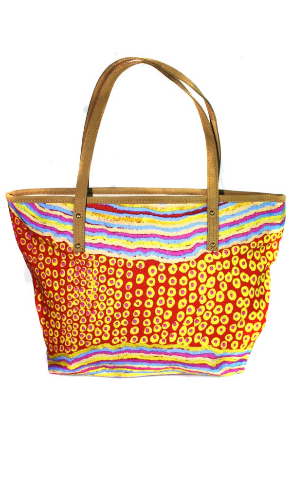 Aboriginal Art Tote Bag Leather Trimmed by Rama Sampson