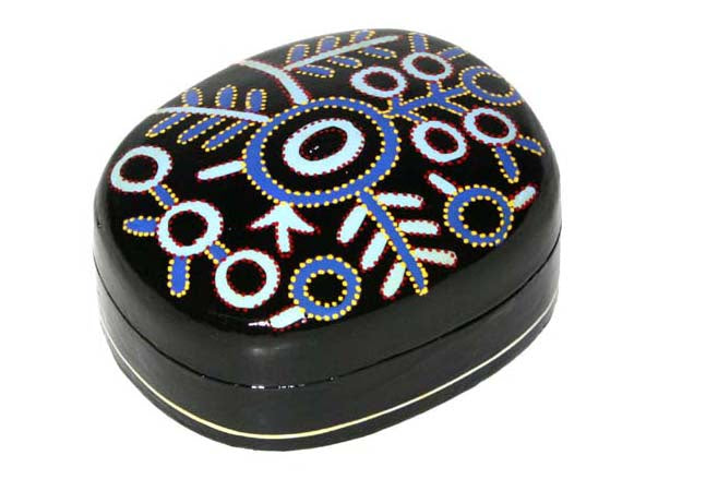 Aboriginal Art Medium Lacquer Box by Theo Hudson (2)