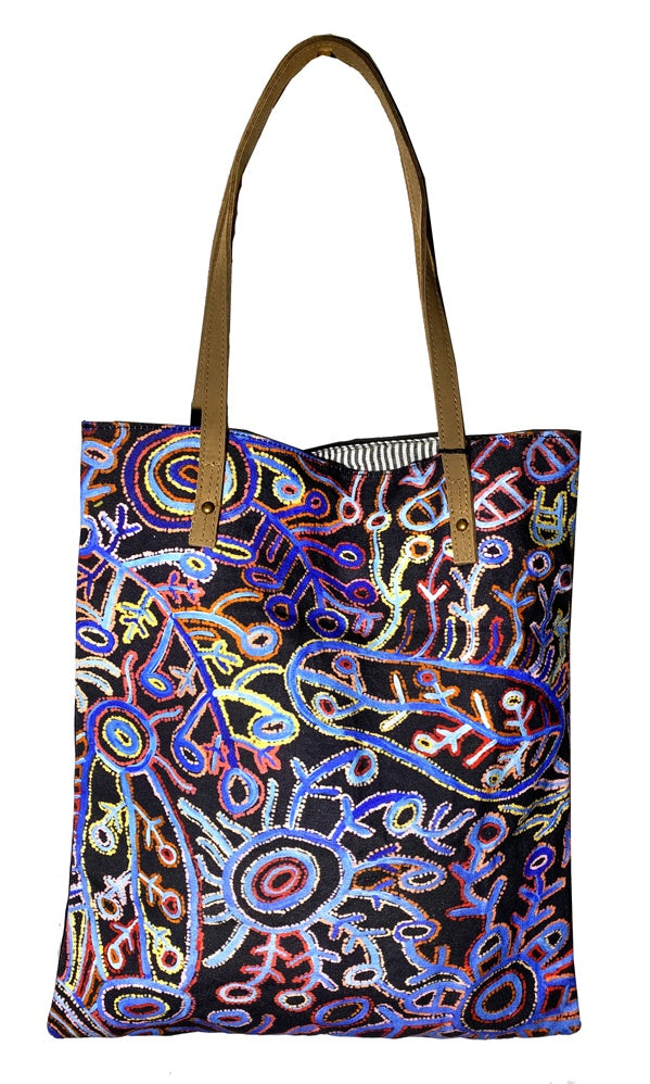 Aboriginal Art Shoulder Tote Bag Leather Trimmed by Theo Hudson