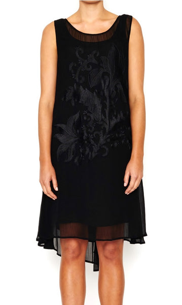 Viscose Dress Embroidered Front, Sizes 10 - 14
