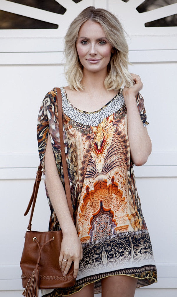 Silk Kaftan Tunic Dress/Top The Tallimanca