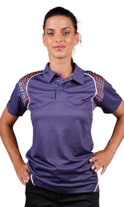 Aboriginal Art Ladies Fitted Bamboo Polo Yankirri Jukurrpa