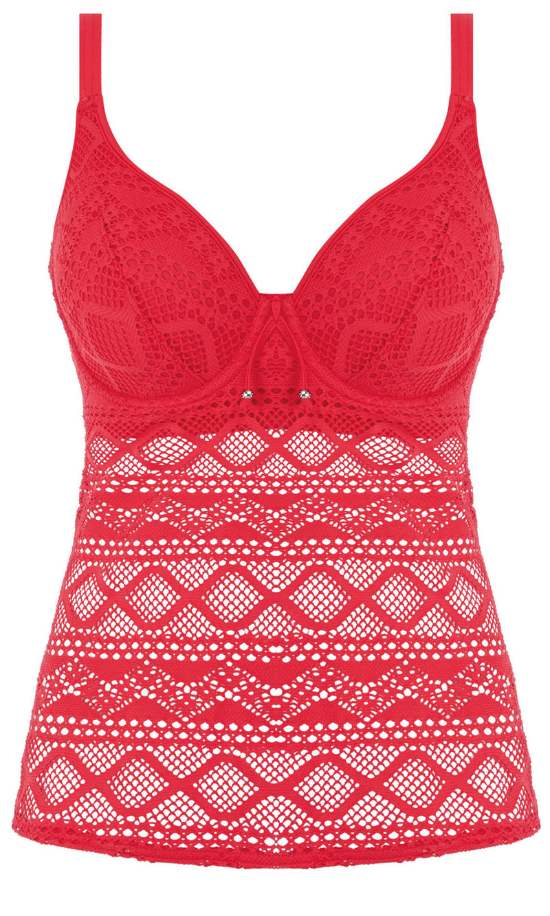 Sundance Red UW Tankini Top, Pre-Order D Cup to GG Cup
