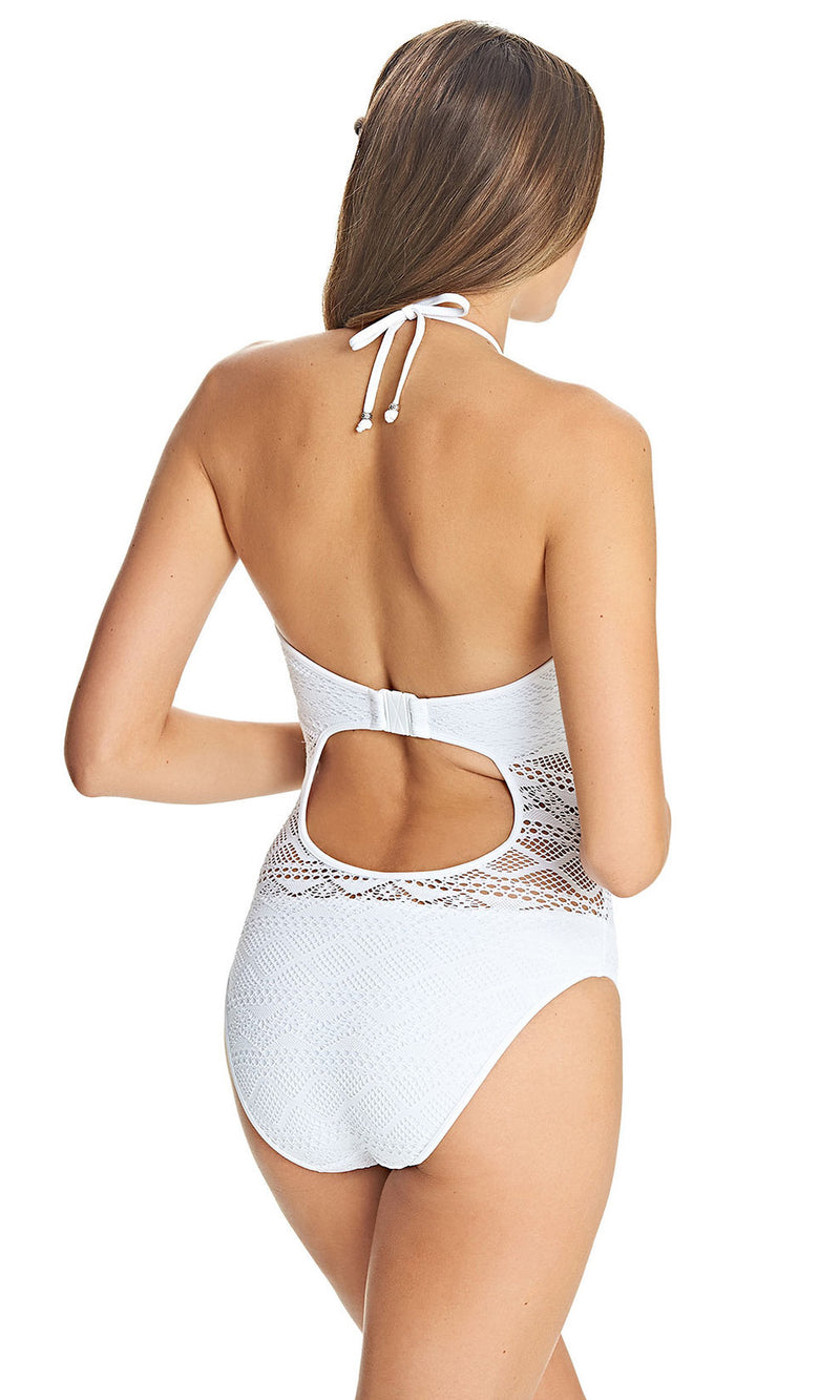 Sundance White UW High Neck Cutout Suit, Pre-Order D Cup to FF Cup