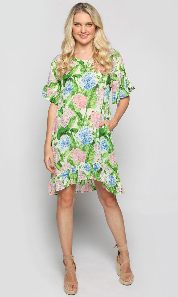 Cotton Viscose Mary-Kate Dress Hydrangea
