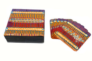 Aboriginal Art Lacquer Coaster Set by Murdie Nampijinpa Morris