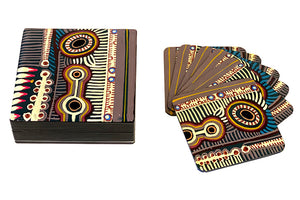 Aboriginal Art Lacquer Coaster Set by Murdie Nampijinpa Morris (2)