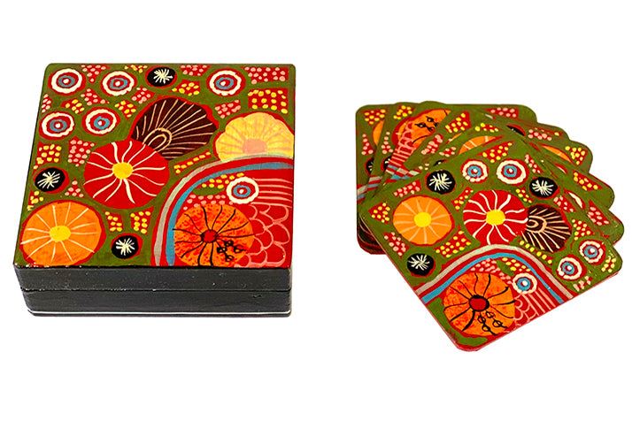 Aboriginal Art Lacquer Coaster Set by Damien & Yilpi Marks