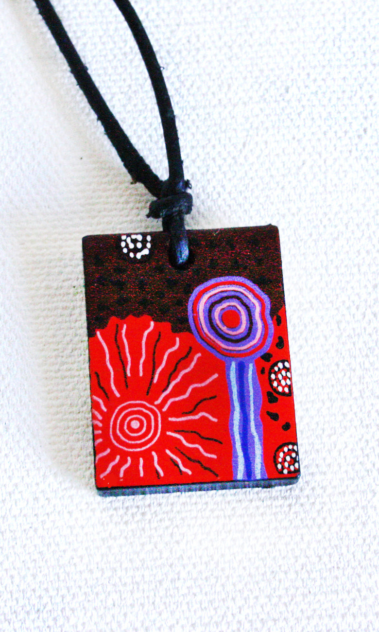 Aboriginal Art Ceramic Pendant by Damien & Yilpi Marks