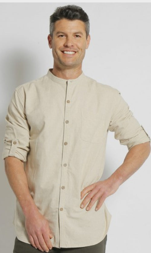 Hemp Cotton  Grandpa Shirt Long Sleeve, More Colours