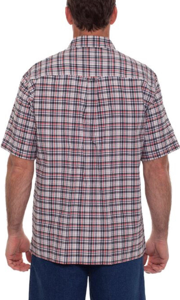 Cotton Shirt Seersucker Check, Sizes S - 3XL