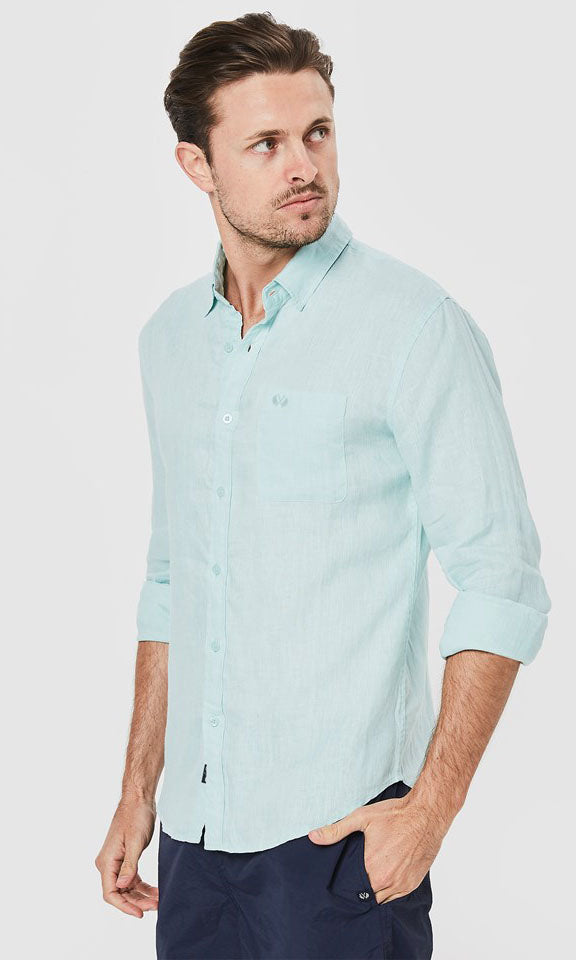 Linen Shirt Long Sleeve Spearmint