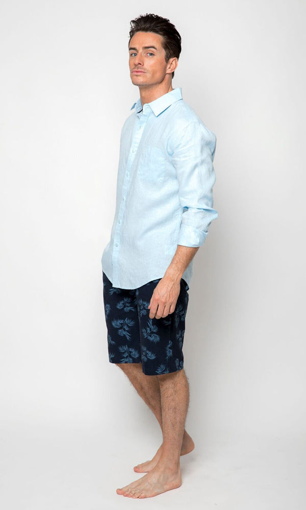 Linen Shirt Long Sleeve Blue