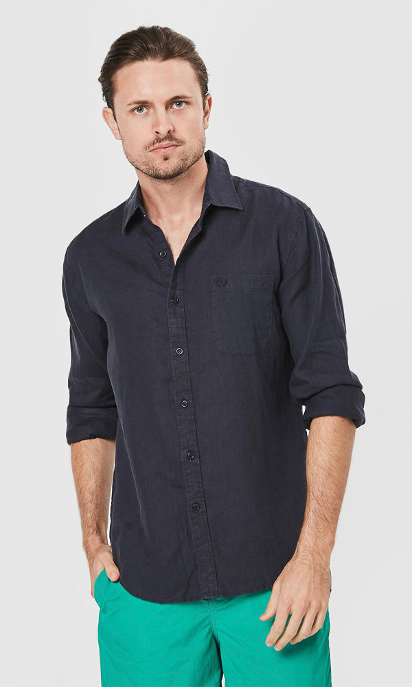 Linen Shirt Long Sleeve Navy