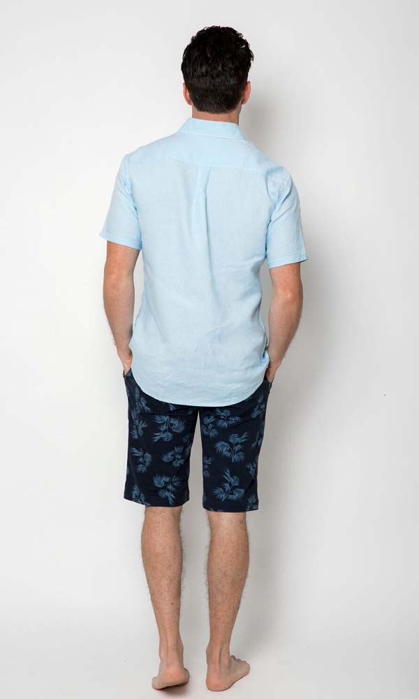Linen Shirt Short Sleeve Blue