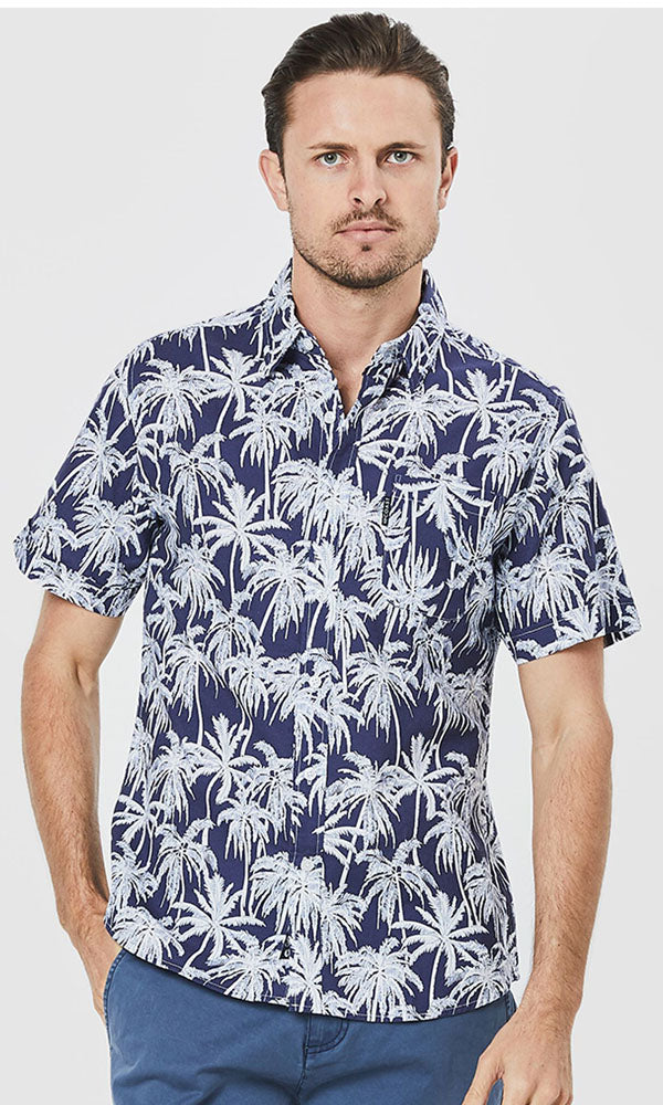 Cotton Poplin Short Sleeve Shirt Beach Palms