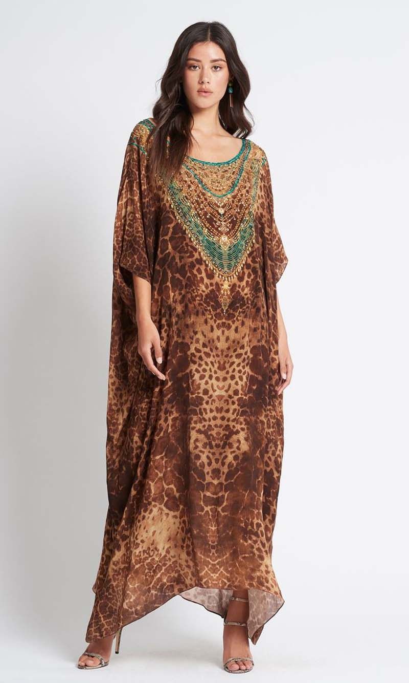 Silk Kaftan Long Round Neck Gaia