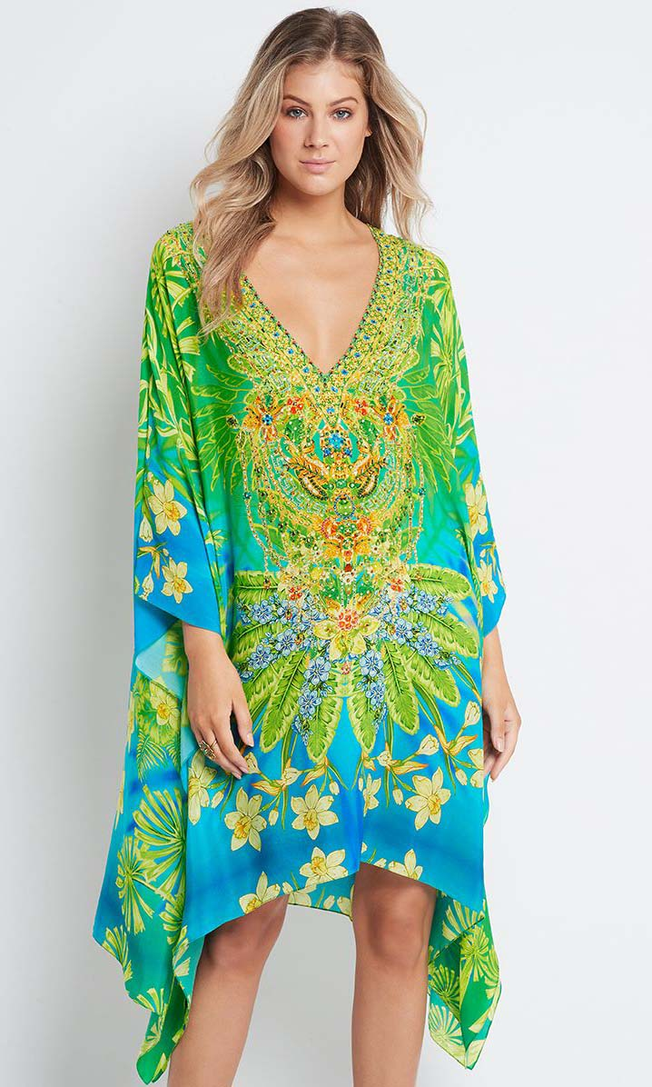 Silk Short Kaftan W/O Lace Up Between The Raindrops