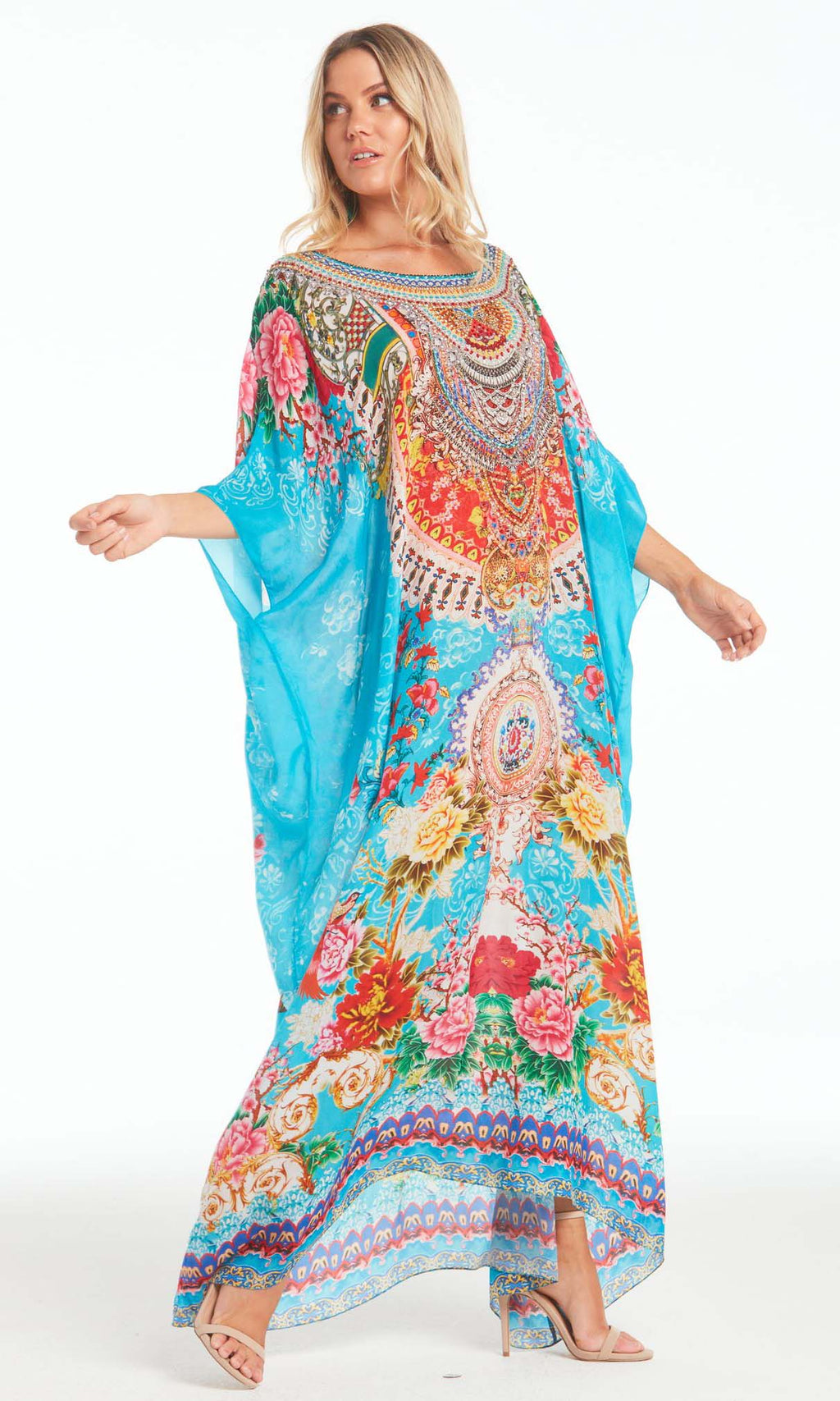 Silk Kaftan Long Round-Neck Once In A Blue Moon
