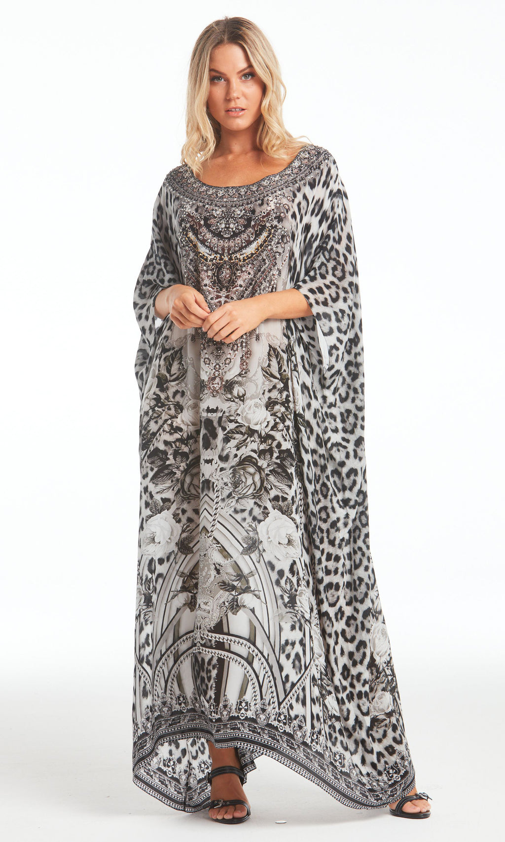 Silk Kaftan Long Round-Neck Wild At Heart
