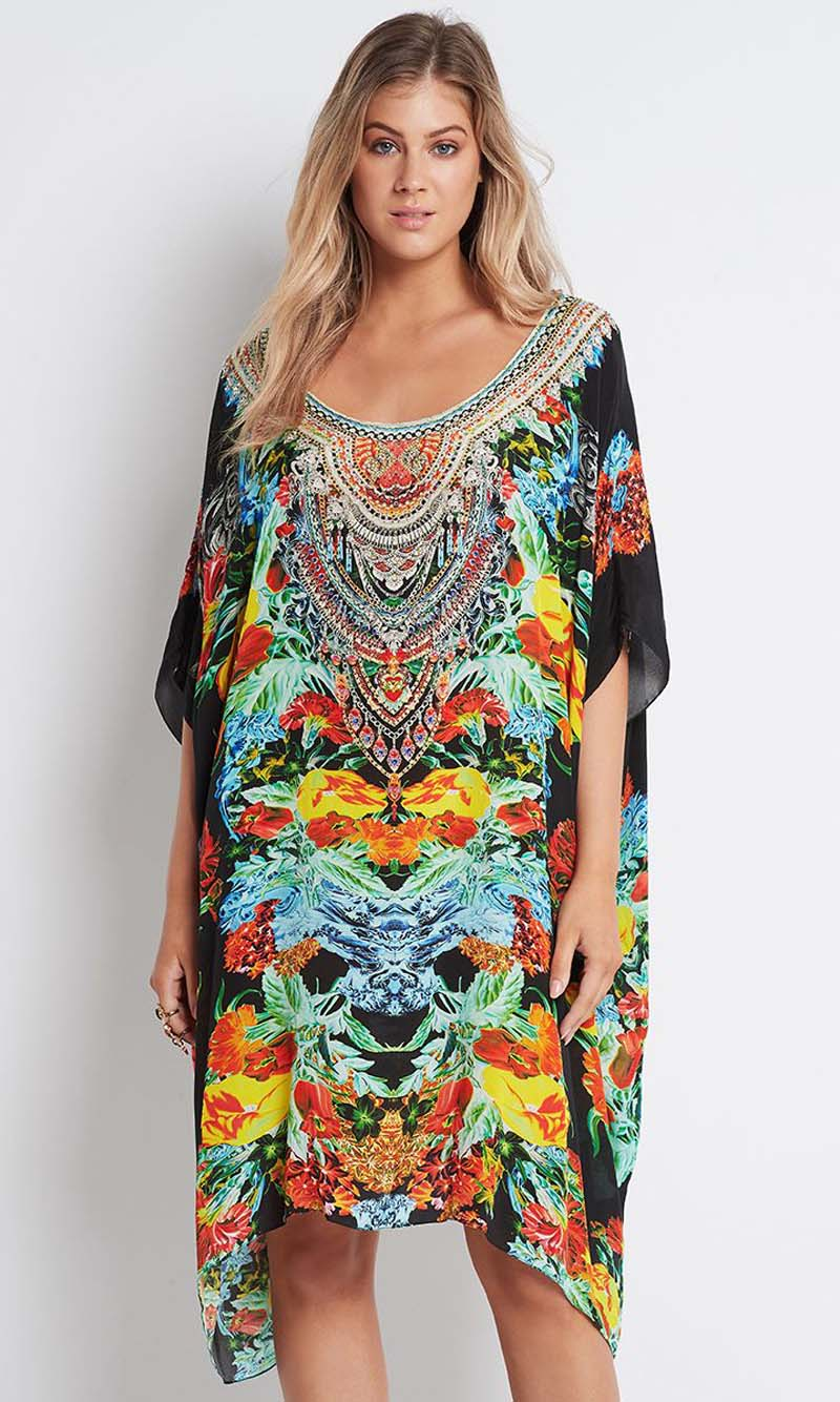 Silk Kaftan Short Round-Neck Cuban Nights