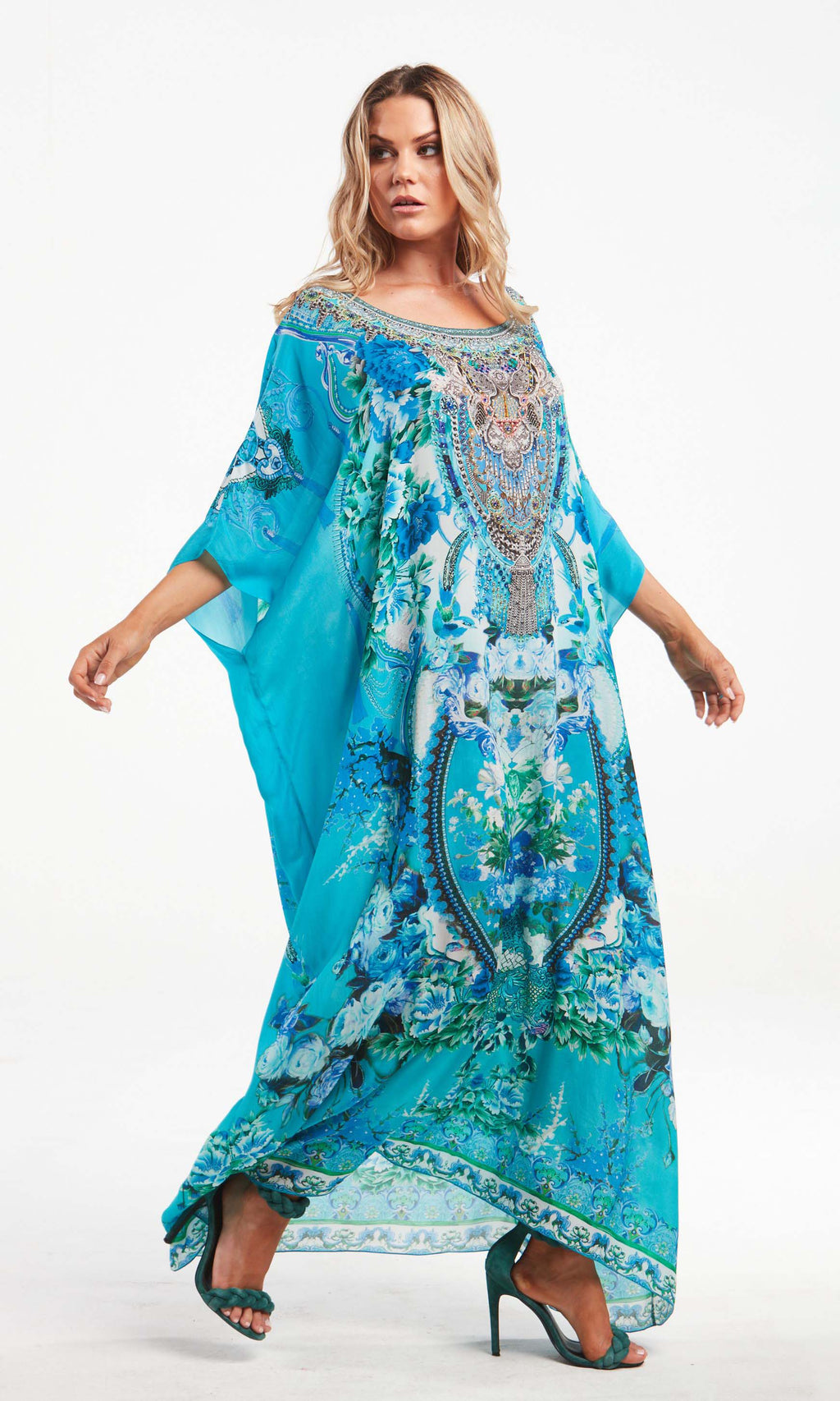 Silk Kaftan Long Round Neck Those Blue Eyes