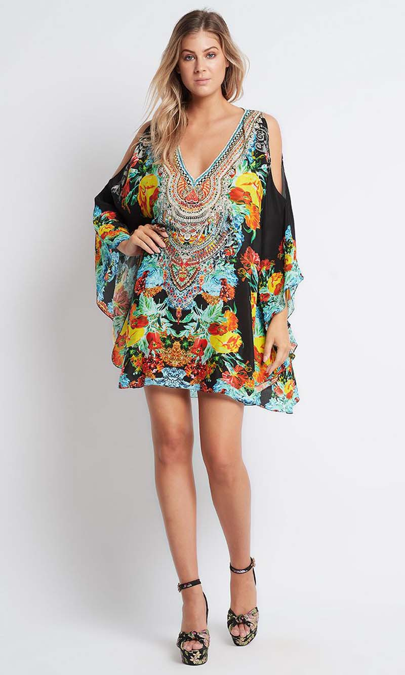 Silk Kaftan Dress Cuban Nights