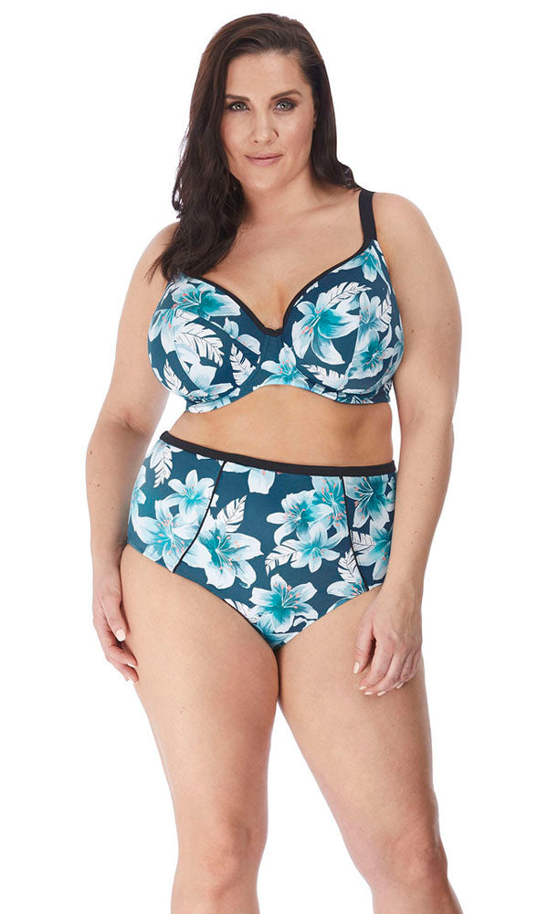 Island Lily Petrol UW Plunge Bikini Top - Multiway, Pre-Order DD Cup to HH Cup